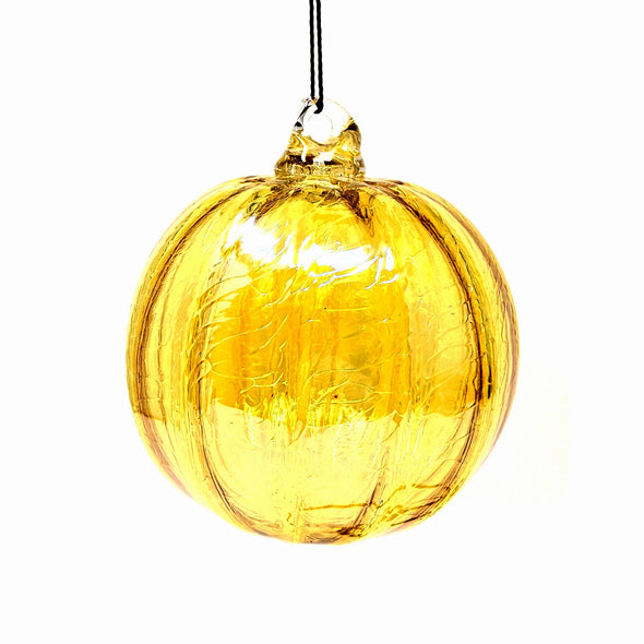 Shawn Everette Handmade Glass Ball Ornament - Ridged Yellow