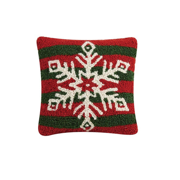 Snowflake Stripes Hooked Wool Pillow