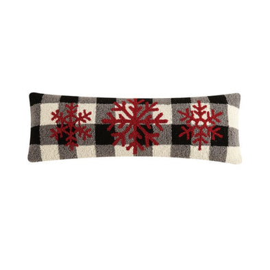 Snowflakes Plaid Hooked Wool Pillow
