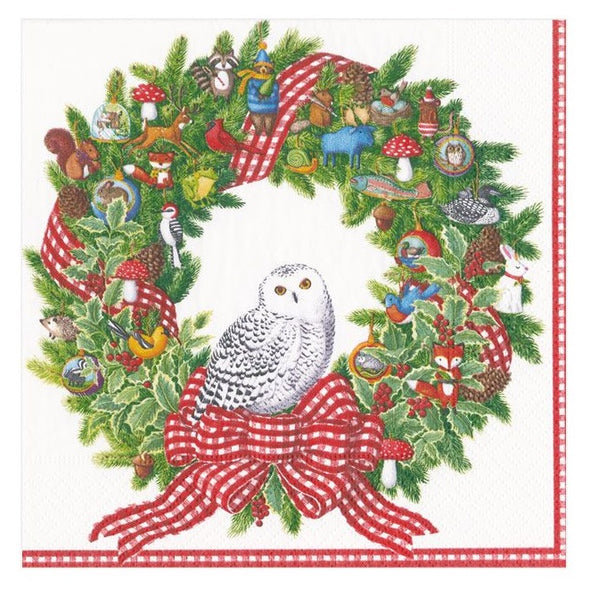 Snowy Owl Holiday Cocktail Napkin Set
