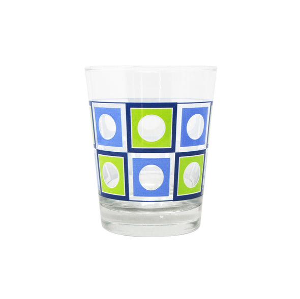 Modern Home Bar Blue and Green Square Peg Old Fashioned Glasses