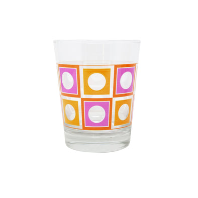 Modern Home Bar Orange and Pink Square Peg Old Fashioned Glasses