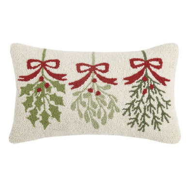 Three Mistletoe Hooked Wool Pillow