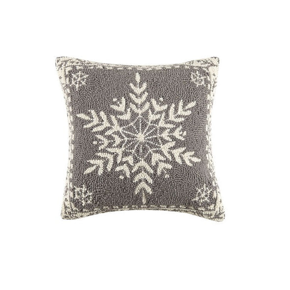 Winter Snow Hooked Wool Pillow