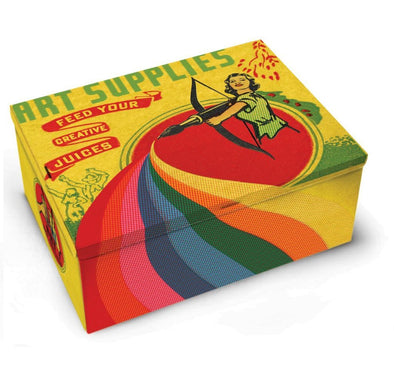 Art Supplies Tin Storage Box