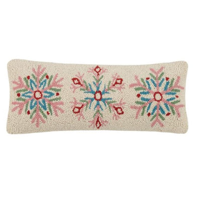 Fun Snowflakes Hooked Wool Pillow