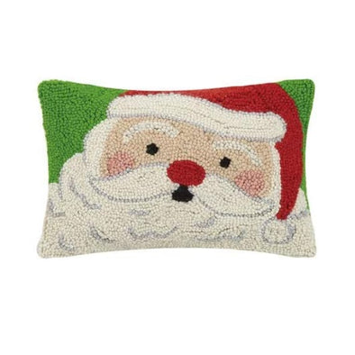 Happy Santa Hooked Wool Pillow