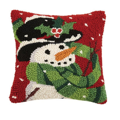 Happy Snowman Hooked Square Pillow