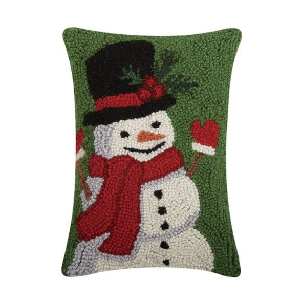 Happy Snowman Hooked Wool Pillow