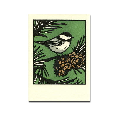 Black Capped Chickadee Letterpress Holiday Card Set