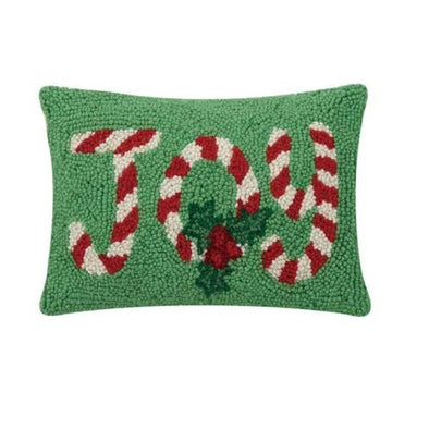 Joy Candy Cane Hooked Wool Pillow