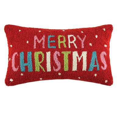 Merry Christmas Hooked Wool Pillow
