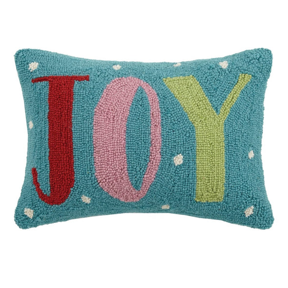 Joy Multi-Color Hooked Wool Pillow