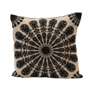 Natural & Black Embroidered Pillow