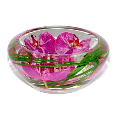 Fuchsia Orchid Glass Bowl