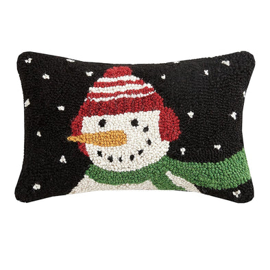 Snowman Hooked Wool Pillow