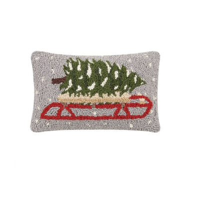 Tree on Sled Hooked Wool Pillow