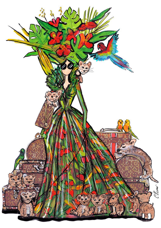 tropical fashionista, charlotte posner, art, pop art london, made in london, london art, london artist, cool girl, illustration, fashion illustration, fashion art, fashionable, louis vuitton, bags, kittens, fashion kittens