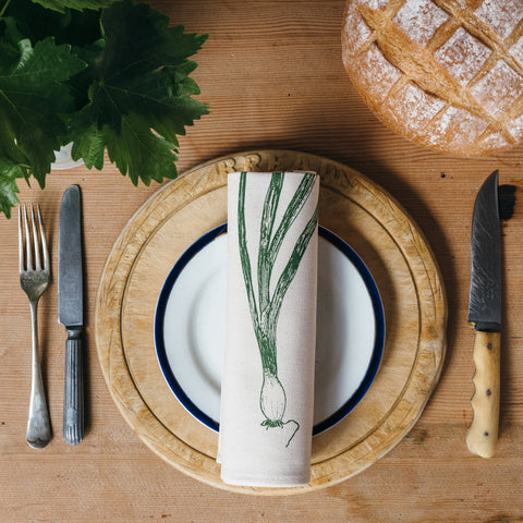 green spring onion garden vegetable place setting