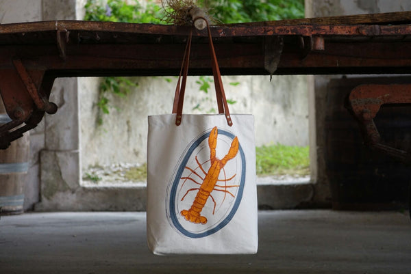 Lobster and Lemon Canvas Shopping Bag