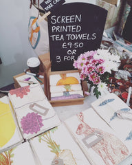 Handmade Screen printed Tea Towels