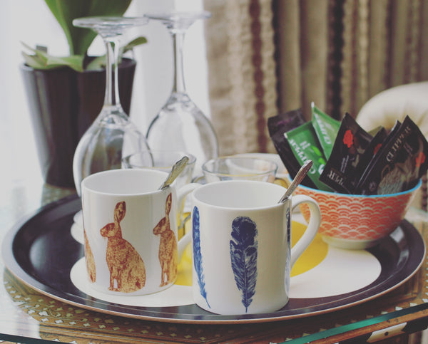 Feather Hare Mugs