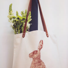 Lottie Day Screen Printed Illustrated Textiles Hare Shopping Bag