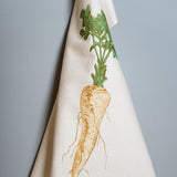 garden parsnip allotment vegetable printed cotton tea towel