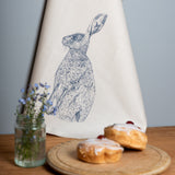 blue hare printed cotton kitchen tea towel