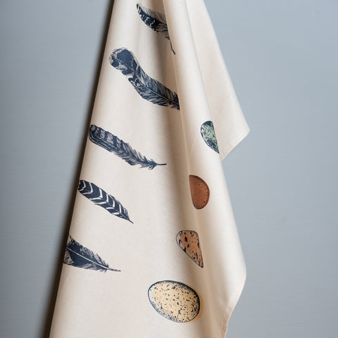 Blue Feather & Egg Tea Towel