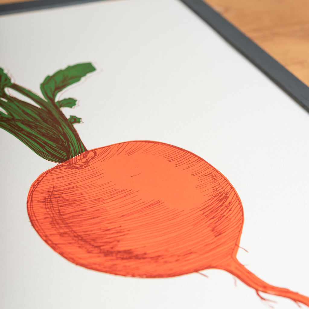 orange turnip vegetable framed wall art print