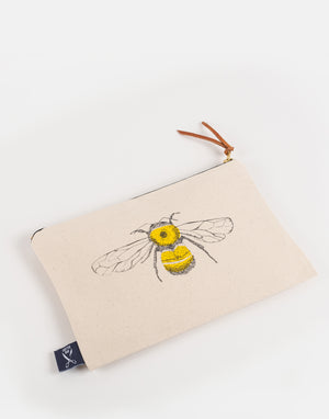 honey bumble bee themed design yellow zip pouch case