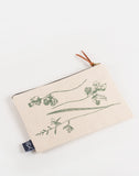 green flowers themed design zip pouch case