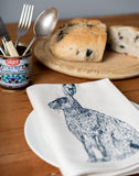 blue hare printed napkin table place setting