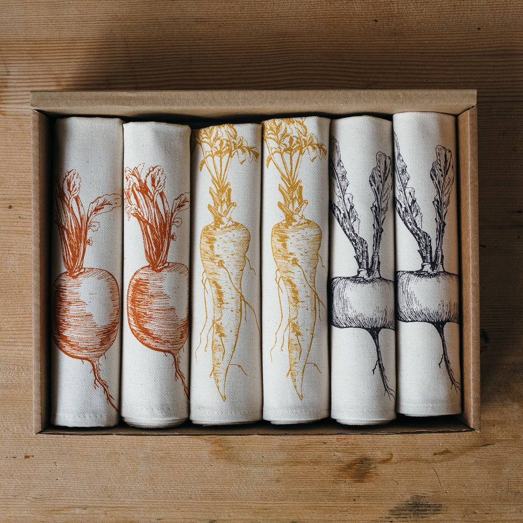 handmade printed gardening vegetables napkin gift box