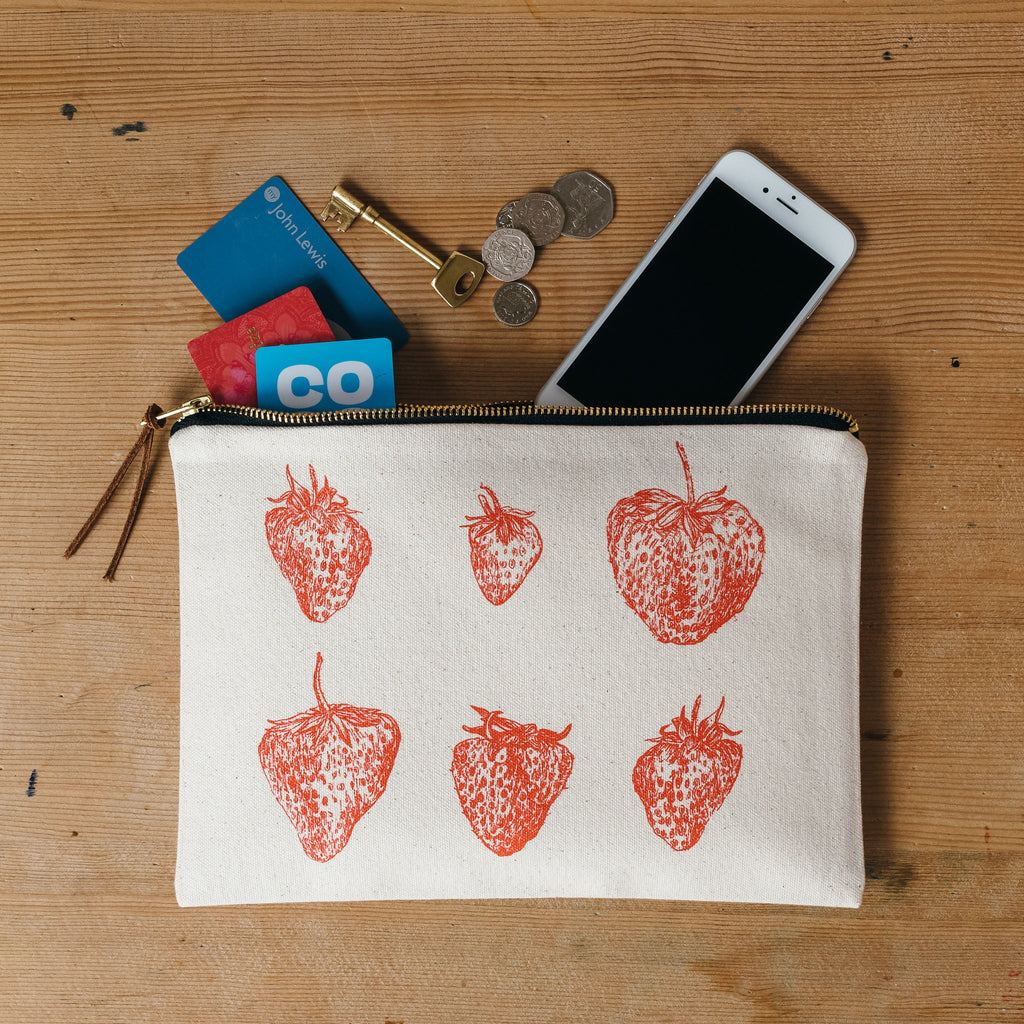 red strawberry printed zip pouch purse