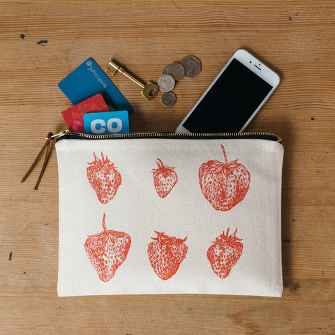 Red Strawberry Zip Pouch