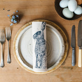 printed blue hare napkin place setting