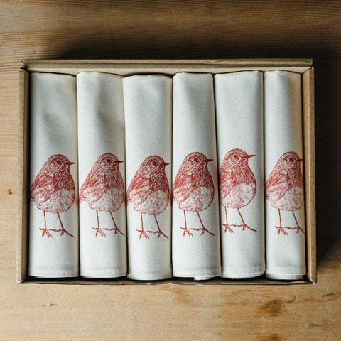 Red Robin Napkin Gift Set
