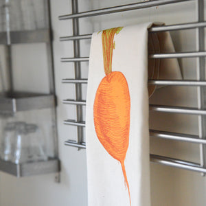 orange turnip printed cotton tea towel