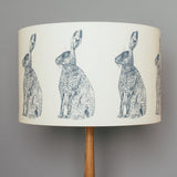 printed blue hare drum lamp shade
