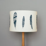 navy blue bird feather themed table lamp shade