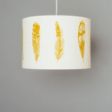 mustard yellow bird feather themed pendant lamp shade