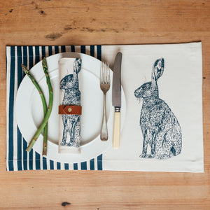 blue hare stripes printed table placemat