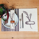 handmade printed purple stripe gardening gift vegetables placemat table place setting
