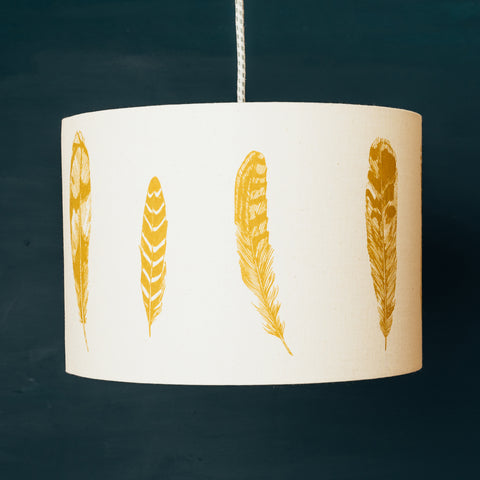 Mustard Yellow Feather Lampshade