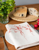 garden red radish printed napkin table place setting