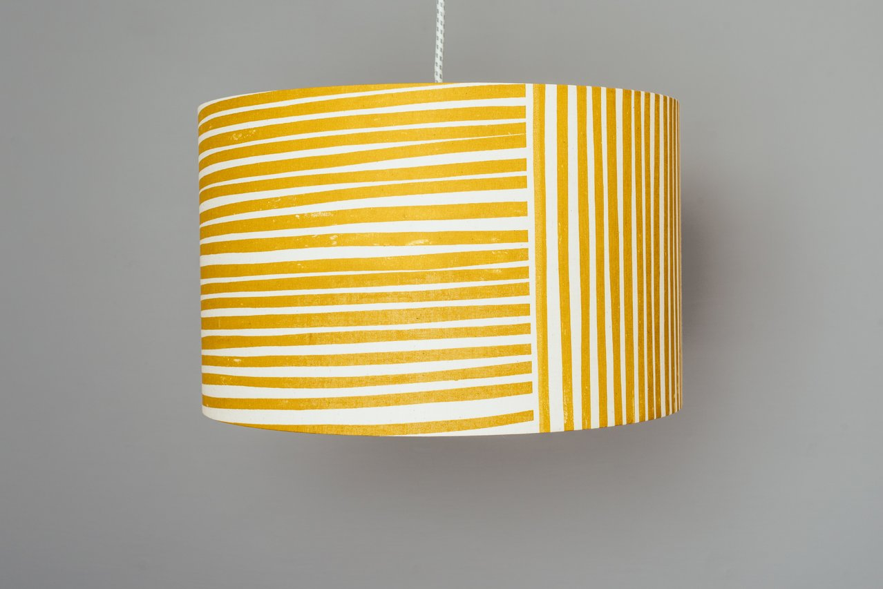 mustart yellow stripes pendant ceiling light lamp shade