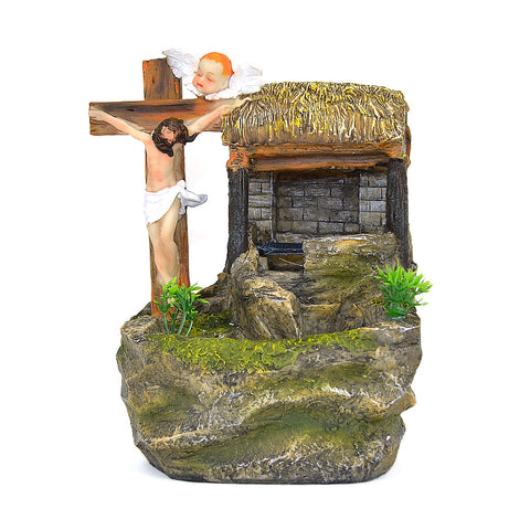 Jesus Crucified, Angel & Hovel Water Fountain #1207