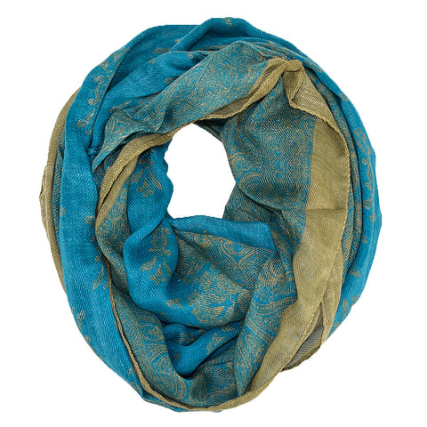 "67"" Indian Floral Infinity Scarf"